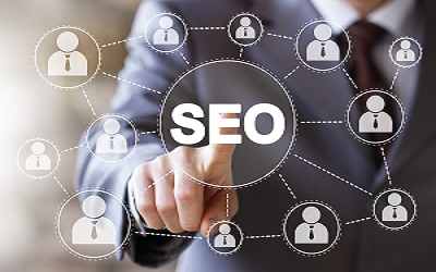 Businessman push online web button SEO