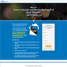 Cloud Migration Cost White Paper Landing Page for Galileo
